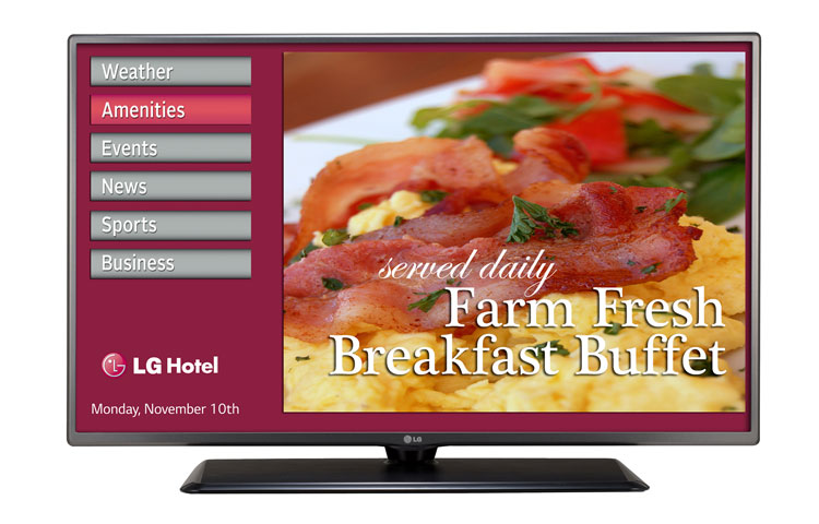 LG TV display for hotels